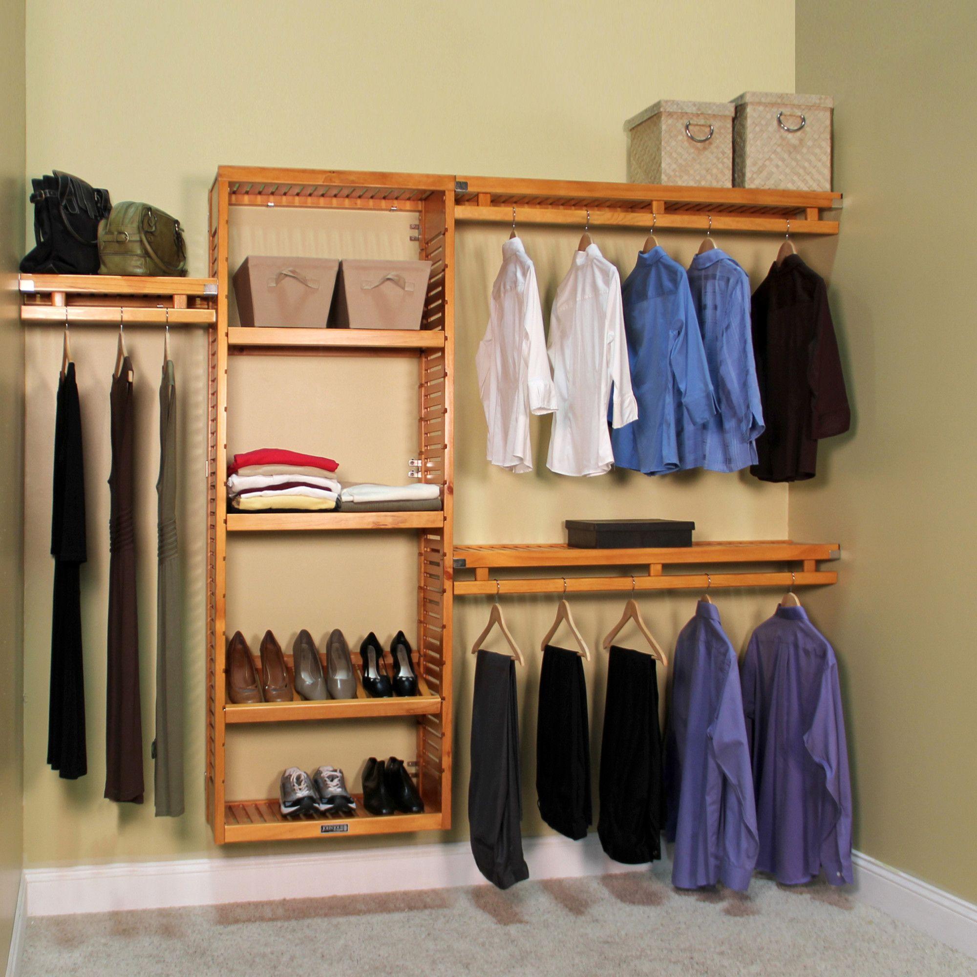 96 w 120w deep solid wood simplicity closet system