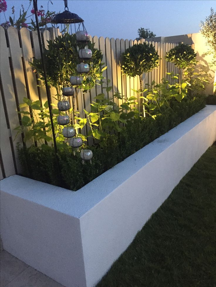Photo of I love the trees and the lighting in the raised beds – garden design ideas