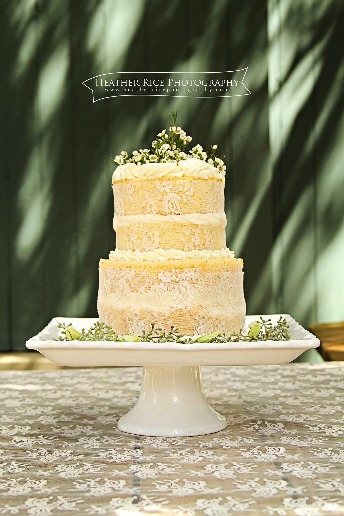 Naked wedding cakes, vintage cakes with flowers, lace wedding cake ...