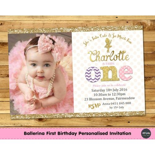 Ballerina 1st Birthday Pink and Gold Personalised Invitation – Custom 1st Birthday Invitations