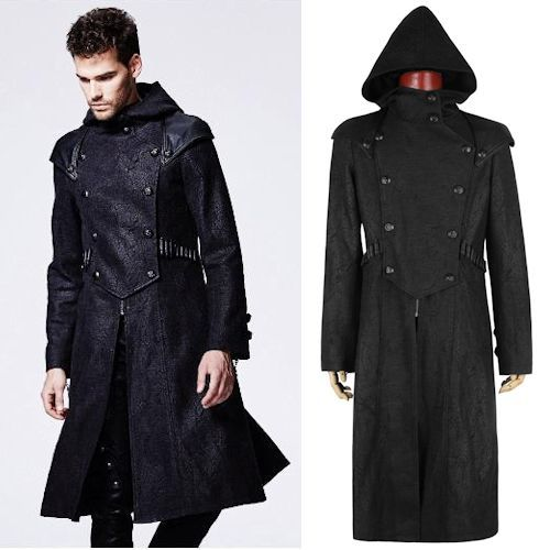 Black Military Trench Coat Men