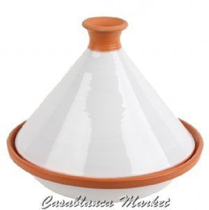 """Ivory Cooking Tagine by Casablanca Market. $68.00. Stovetop and oven use. Designer cooking tagine. Can be used as a serving tagine. Blanc Cooking Tagine Blanc Cooking Tagine  SKU: TC00009 In Arabic, the word tagine (or tajine) is used to describe the meal as well as the vessel in which it is prepared. The term """"tagine"""" is also used to describe both the decorative serving tagine as well as the cooking version. North Africans use cooking tagines to prepare a wide variety ..."""