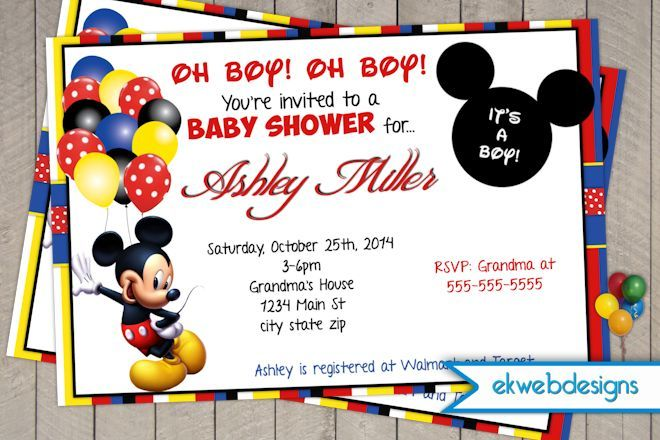 mickey mouse baby shower invitations | baby shower invitations,