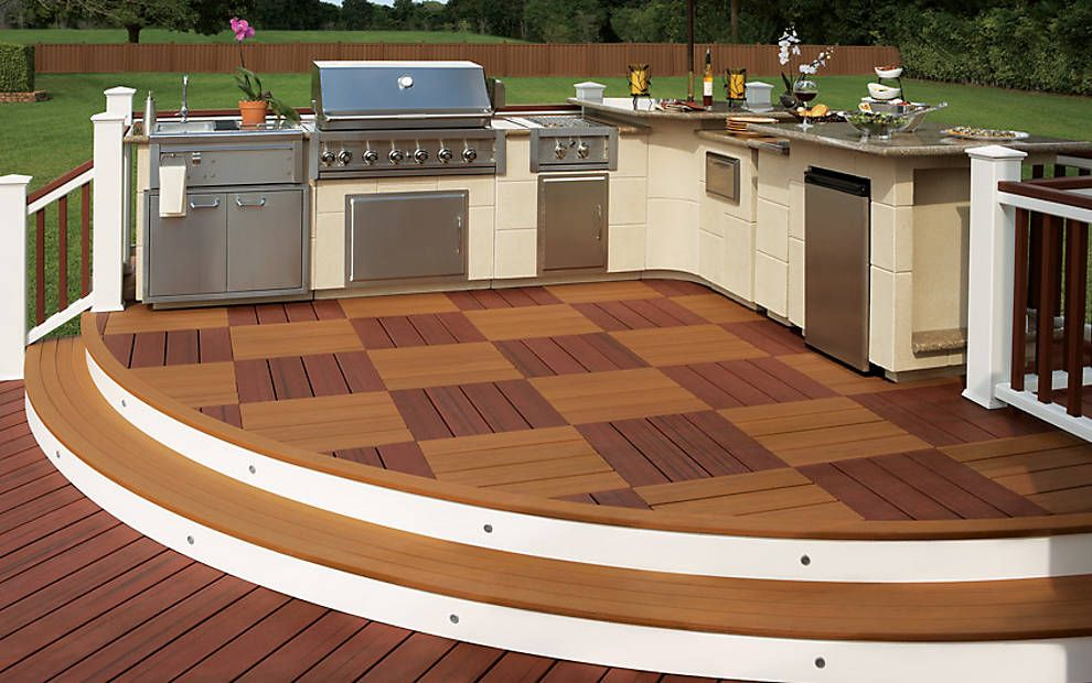 Check Out This Gorgeous Outdoor Kitchen Featuring Trex Brasilia Decking Trex Deck Outdoor Kitchen Outdoor