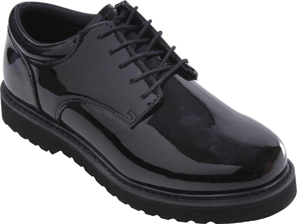 Mens Black Shiny Uniform Oxford Shoes with Work Sole  Rothco  Oxford ... 32ef2e1bf49