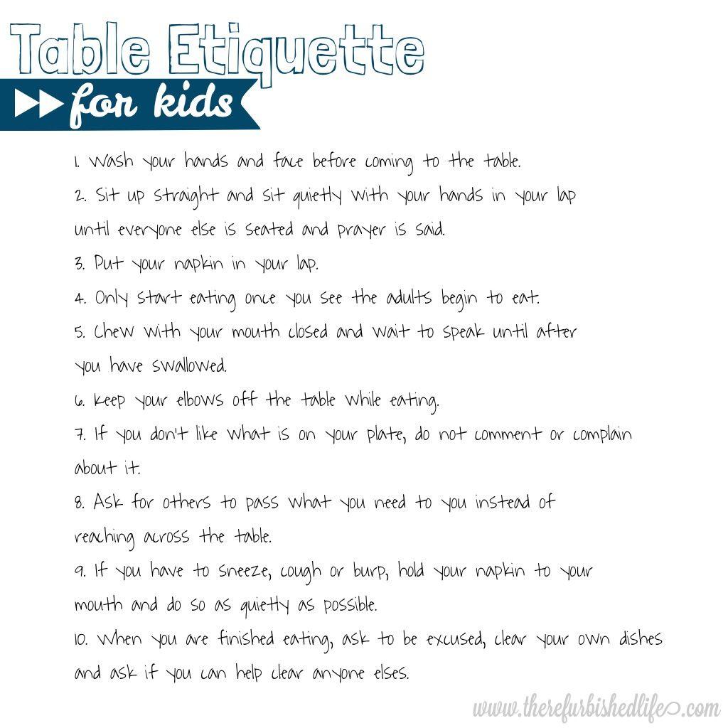 Table Etiquette For Kids