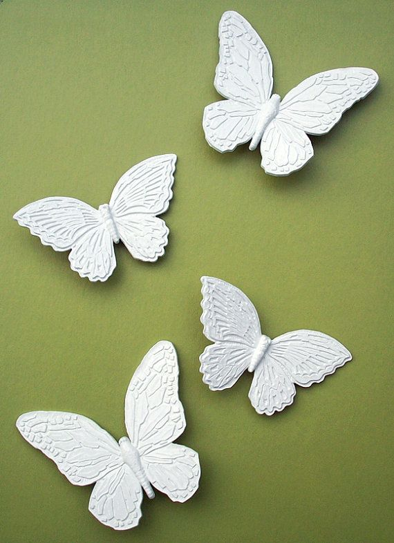 Set of 4 White Butterflies Wall Decor Hangings by TheCherryAttic ...