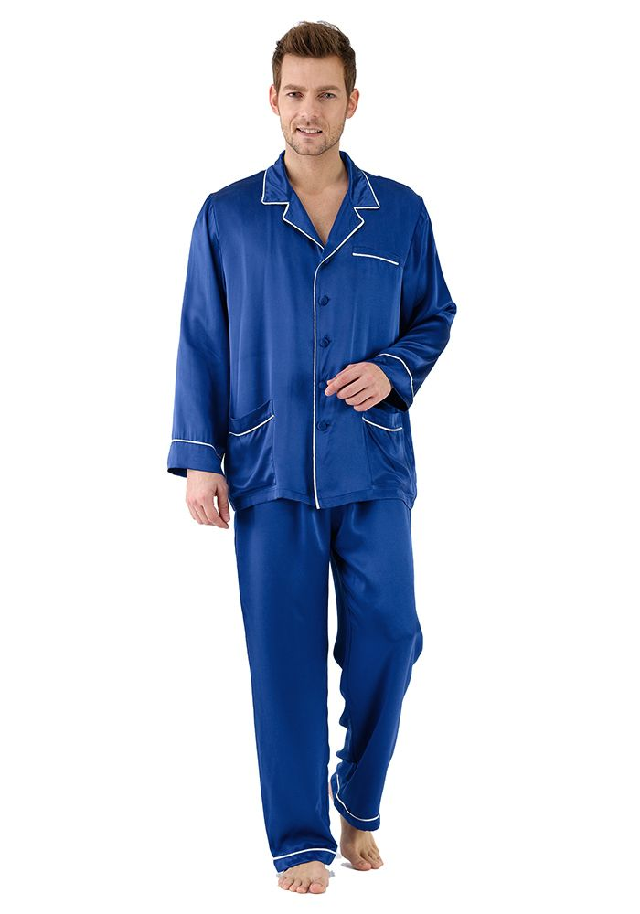 c55c4d0d6793 Silk men nightwear pajamas--Navy-Blue pajamas  Silk  pajamas