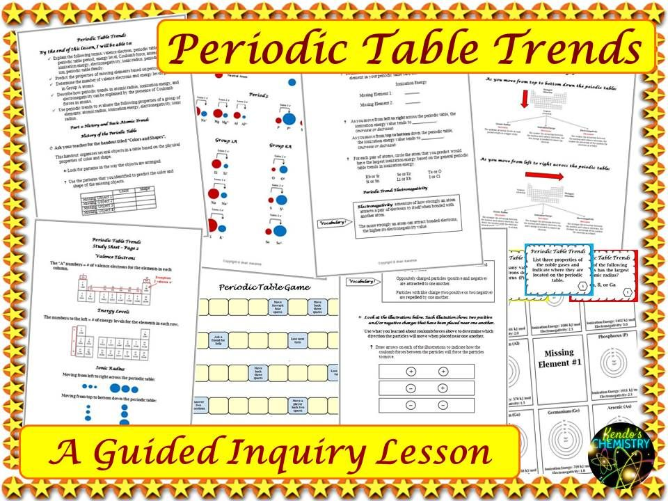 Chemistry Periodic Table Trends Guided Inquiry Lesson  Ionic