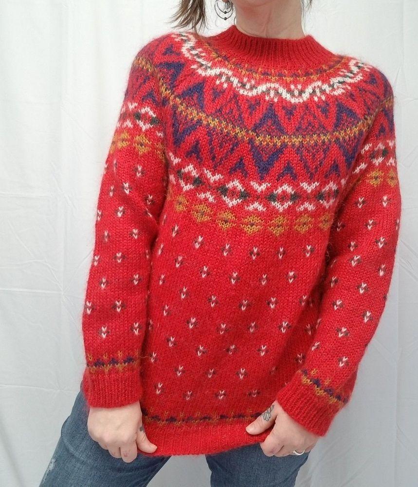 3a232b487e Vtg NORTHERN ISLES Womens L Nordic Sweater Red Fuzzy Mohair Blend Fair Isle  EUC  NorthernIsles