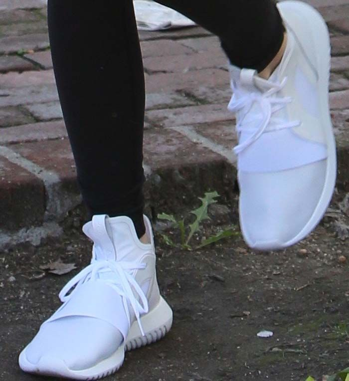 "Kendall Jenner in Adidas ""Tubular Defiant"" High Top Sneakers"