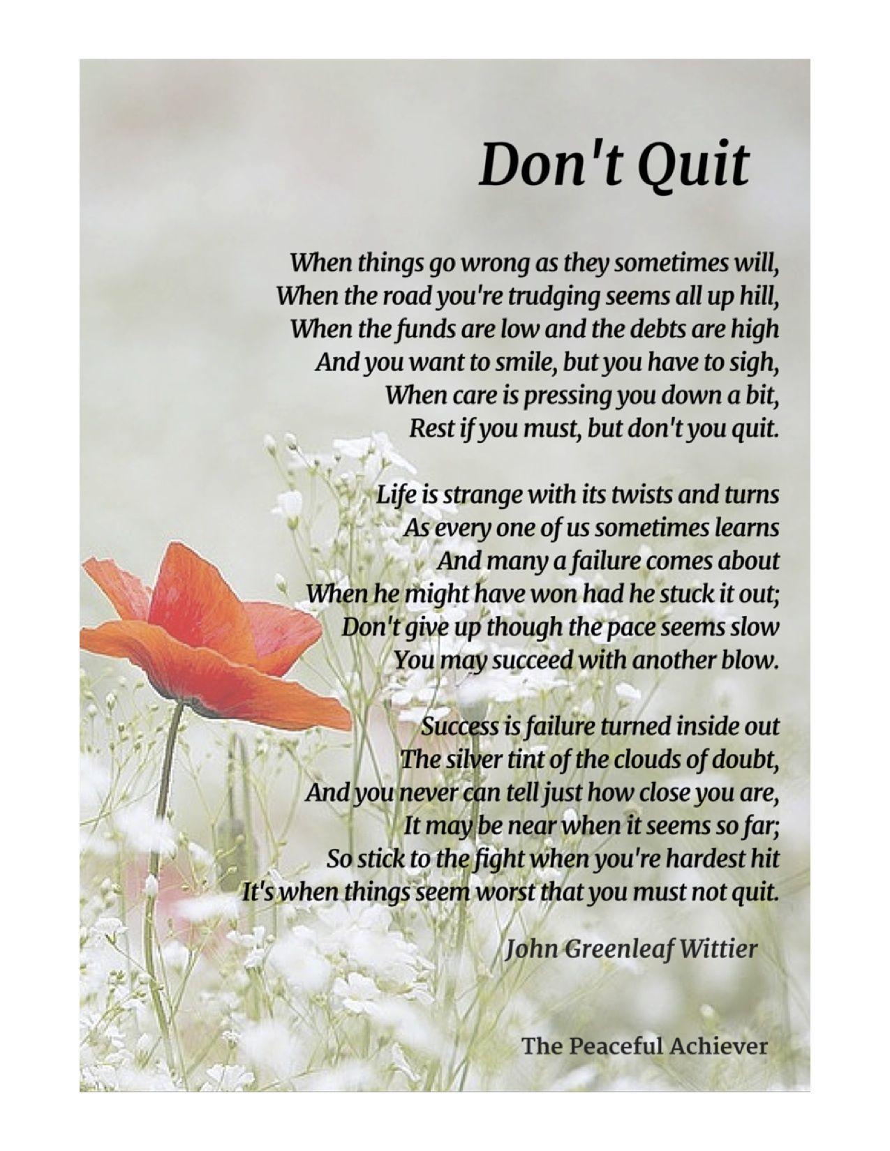 Don't Quit An inspiring poem by John Greenleaf Wittier | Inspiring Poems & Affirmations | Frases ...