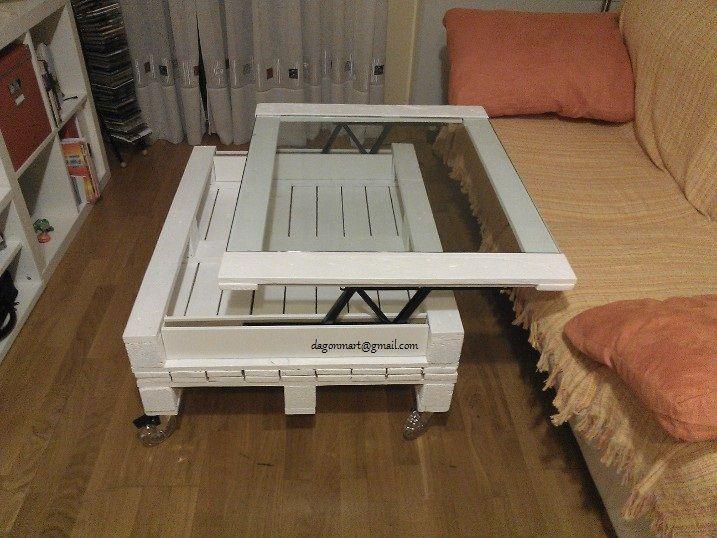 Mesa de palet elevable decoraci n pinterest muebles - Mesas de palet ...