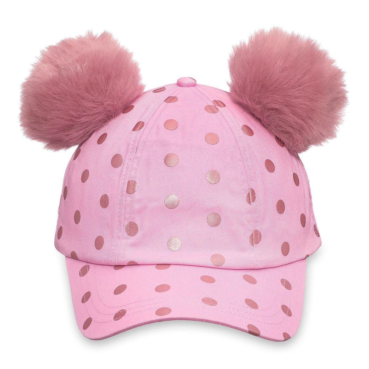 Black Disney Minnie Mouse Polka Dot Pom Pom Baseball Cap