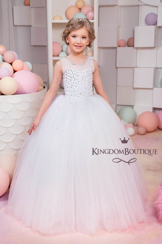 White Flower Girl Dress - Holiday Bridesmaid Birthday Wedding Party ...