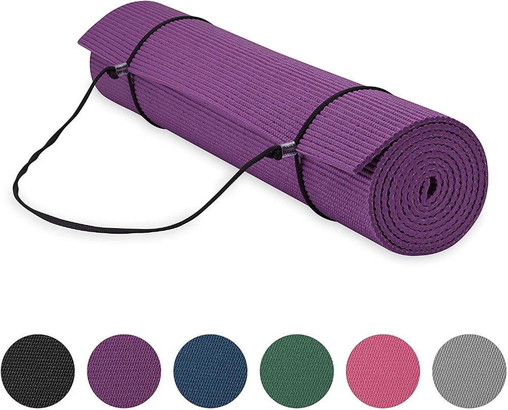 Amazon Com Gaiam Essentials Premium Yoga Mat With Yoga Mat Carrier Sling Purple 72 L X 24 W X 1 4 Inch Thick Yoga Mat Carrier Extra Long Yoga Mat Yoga Mat