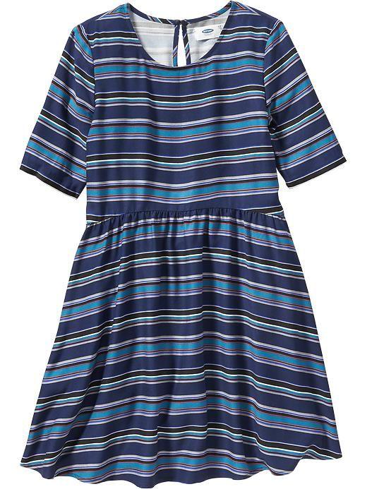 Girls Patterned Half-Sleeve Dress
