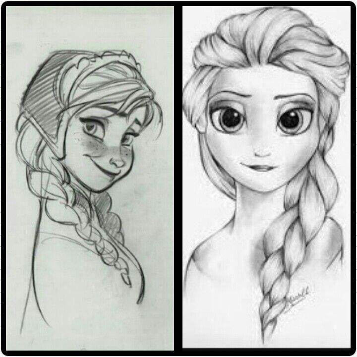 Dibujo De Frozen En Lapiz Ana V S Elsa Elsa Dibujo Rapunzel Dibujo Dibujos De Frozen