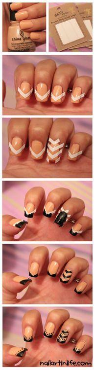 Diy nude black nail design do it yourself fashion tips diy fashion diy chevron nails minus the polkadots solutioingenieria Image collections