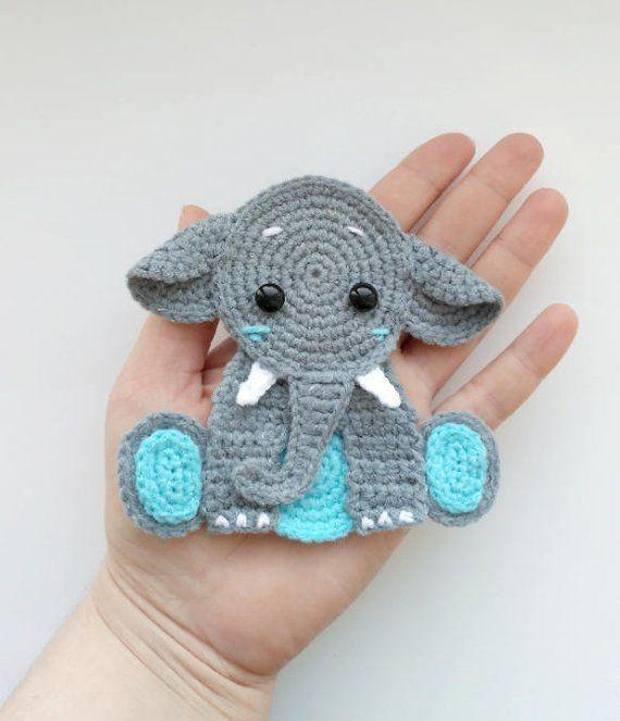 PATTERN Elephant Applique Crochet Pattern PDF Jungle Animal Pattern Safari Animal Pattern Instant Download Motif Ornament Baby Blanket ENG