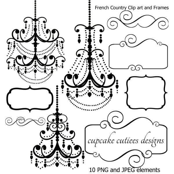 French Chandelier and Frames Elements. Great for