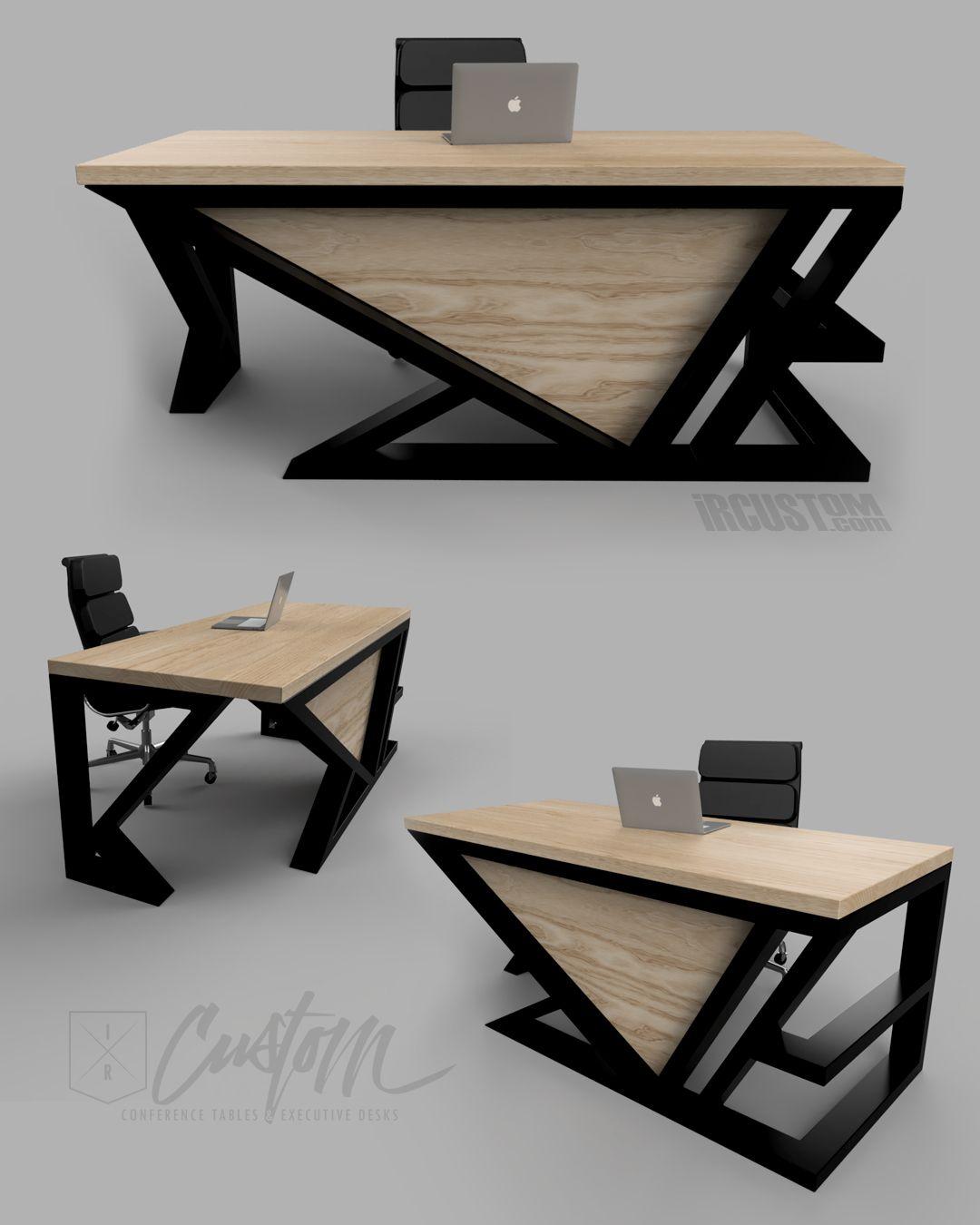 asymmetric x custom contemporary executive desk. modern +
