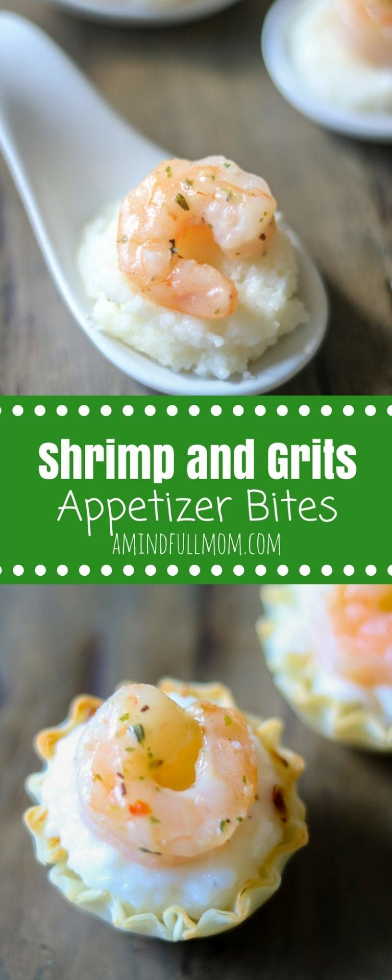 Mini Shrimp and Grits Appetizer Bites: These quick and easy shrimp and grits appetizer recipe will wow your party guests! #appetizer #shrimp #seafood #glutenfree #holidayentertaining #tapas #bitesize #shrimpandgrits