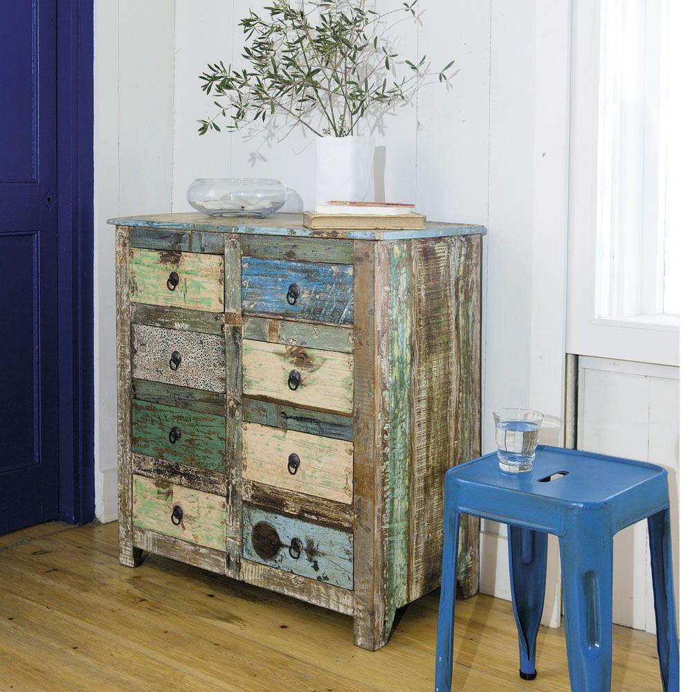 cabinet de rangement en bois recycl l 80 cm calanque maisons du monde recycl color. Black Bedroom Furniture Sets. Home Design Ideas