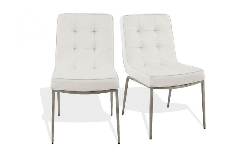 Lot de 2 chaises de salle  manger design en similicuir blanc et