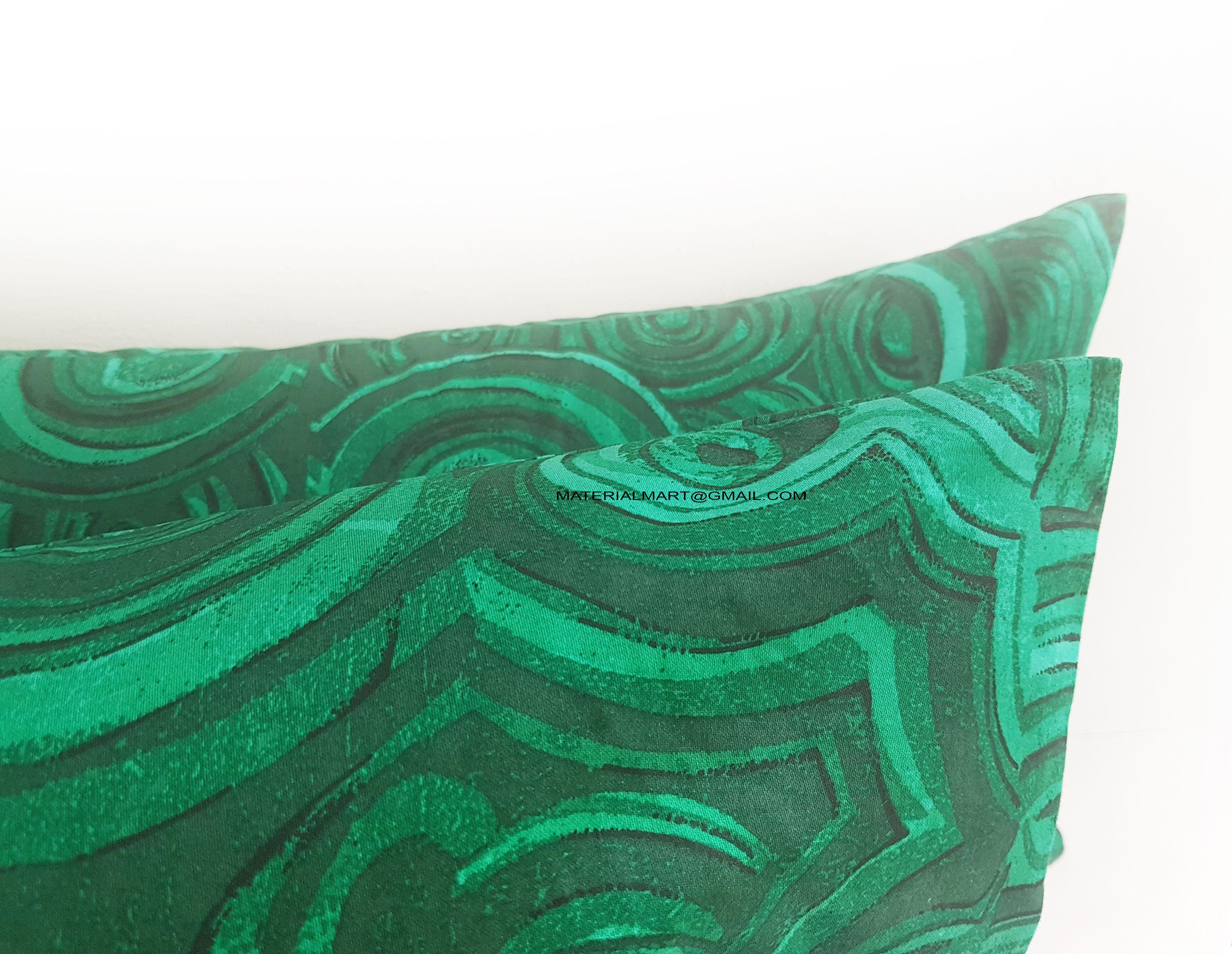 Pair of Gemstone Pillow Cover - Green Pillow Case - Invisible Zipper Pillow Cover - Jim Thompson - Zipper Throw Pillow
