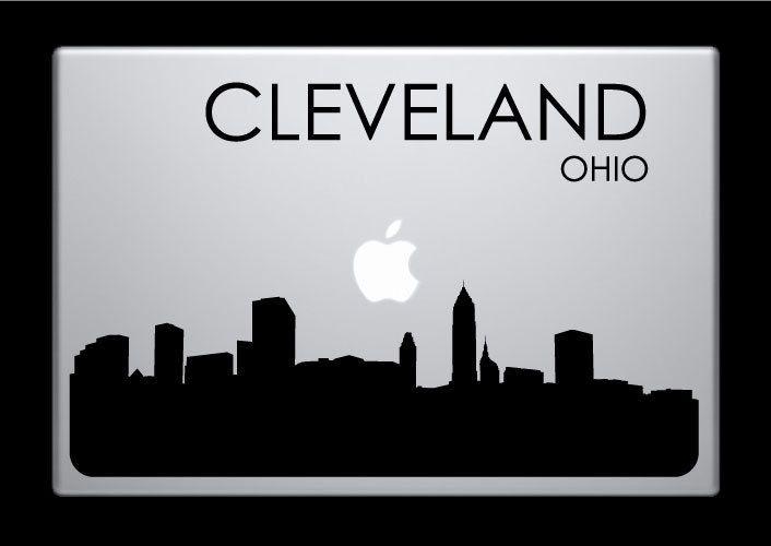Cleveland Skyline Macbook Decal With Writing Macbook Sticker - Custom vinyl decals cleveland ohio