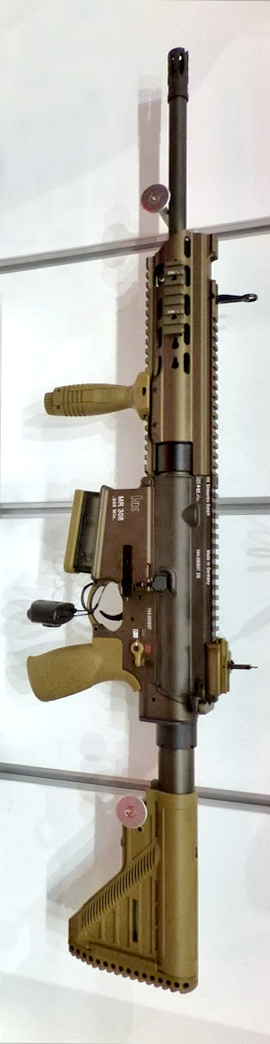 Thanks to my friend Montrala for the image of the new MR308 with new keymod rail shown at  EnforceTac and IWA2014.