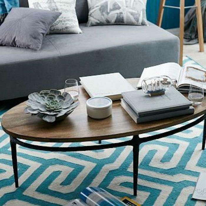 Ovale Couchtische holz blau teppich Wohnzimmer Pinterest - blauer teppich wohnzimmer