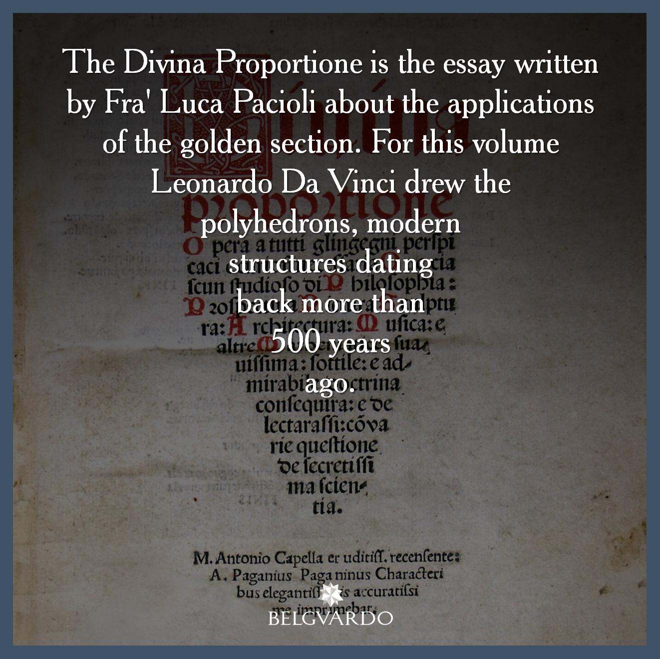 Il Divina Proportione è Il Trattato Di Fra Luca Pacioli Sulle Applicazioni Della Sezione Aurea Per Questo Volume Leon Leonardo Da Vinci Sezione Aurea Disegni