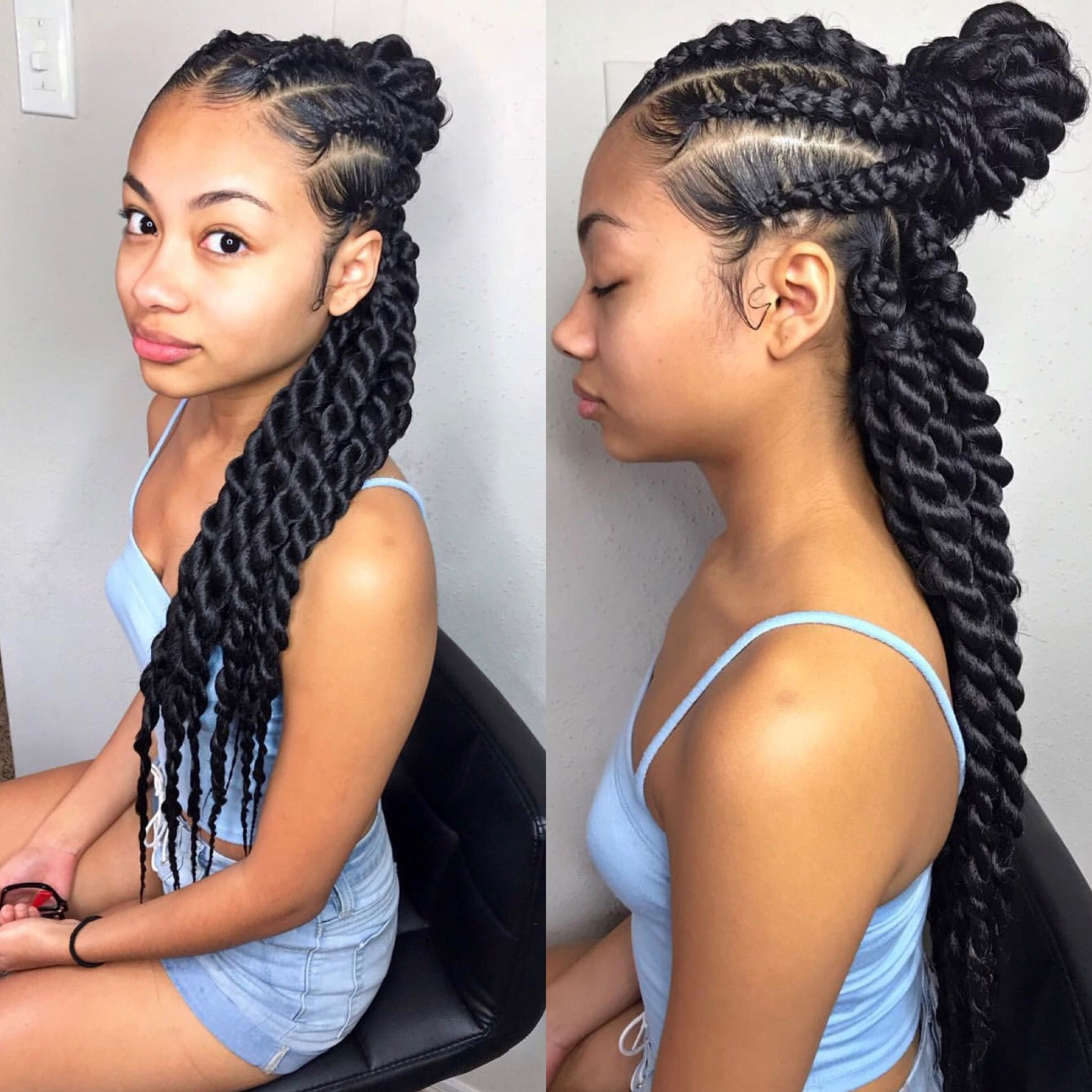 Half Up Half Down Twists By Trapprinzess On Ig Half Braided Hairstyles Natural Hair Styles Cool Braid Hairstyles