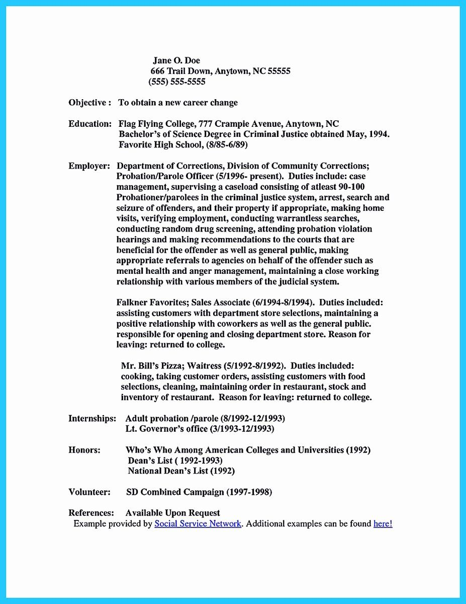 correctional officer resume samples no experience