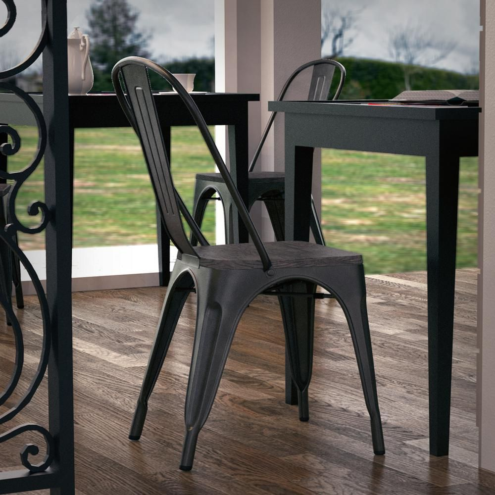 Swell Poly And Bark Trattoria Bronze Side Chair With Elm Wood Seat Bralicious Painted Fabric Chair Ideas Braliciousco