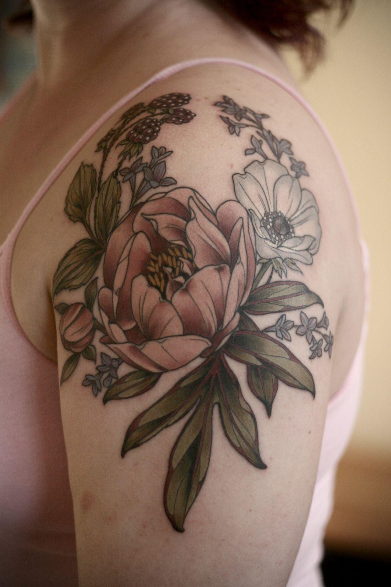 Peony Berries Wreath Shoulder Cap Art Tattoos Others