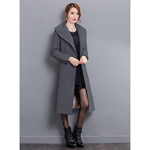 Damen eleganter Wollmantel Cardigan Trenchcoat Gürtel Coat OneSize 36 38 40 42
