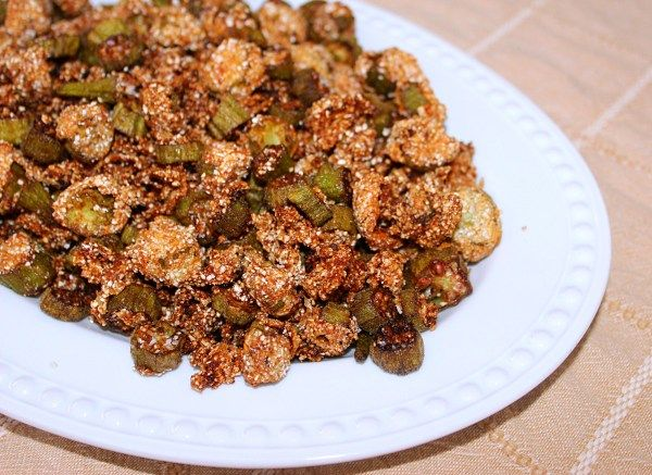 Fried Okra~Syrup and Biscuits