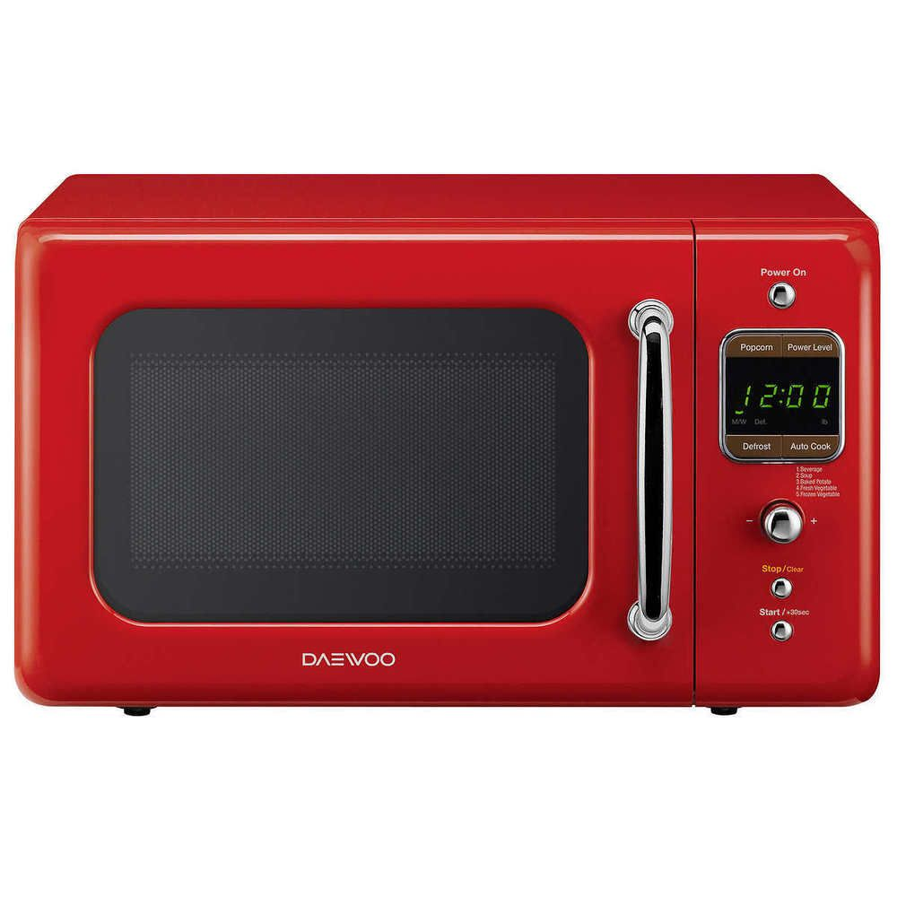 0 7 Cu Ft Retro Microwave Compact 700 Watts Office Dorm Break Room Kitchen Red Daewoo With Images Microwave Oven Daewoo Microwave Countertop Microwave