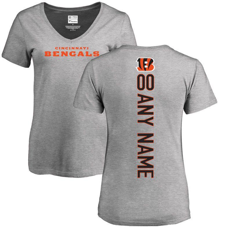 Cincinnati Bengals NFL Pro Line Women s Personalized Backer V-Neck T-Shirt  - Ash 1bd948309