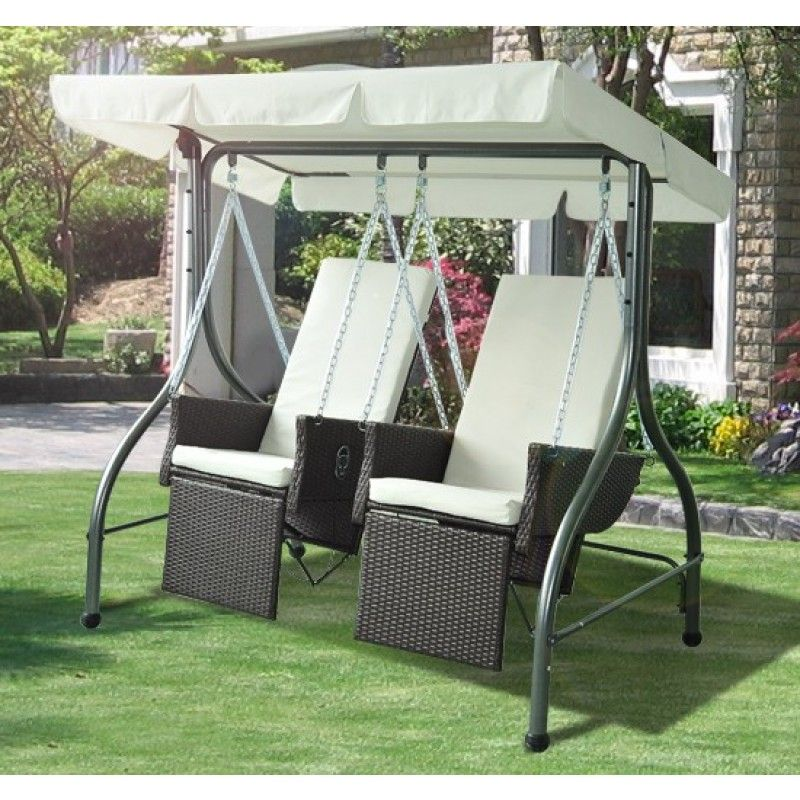 Outsunny 2 Sitzer Polyrattan Hollywoodschaukel Mit - Hollywoodschaukel Rattan Polyrattan