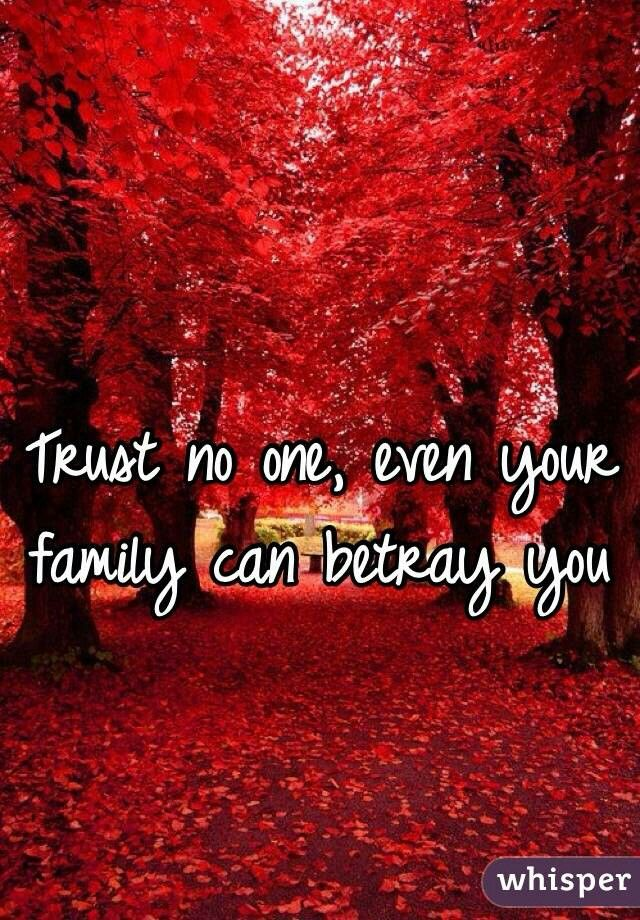 trust no one even your family can betray you trust no one