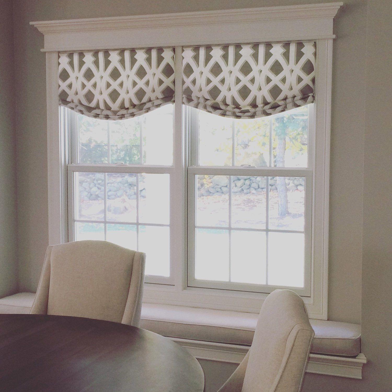 Folk Design Blue White Faux Roman Shade Window Treatment Bedroom Bathroom Living Kitchen Dining Office
