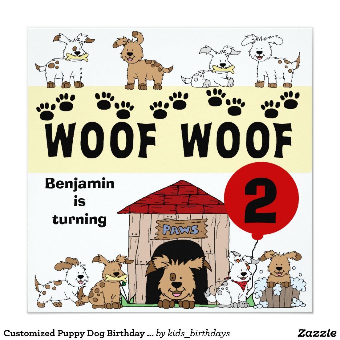 Customized Puppy Dog Birthday Invitations | Dog birthday, Birthdays ...