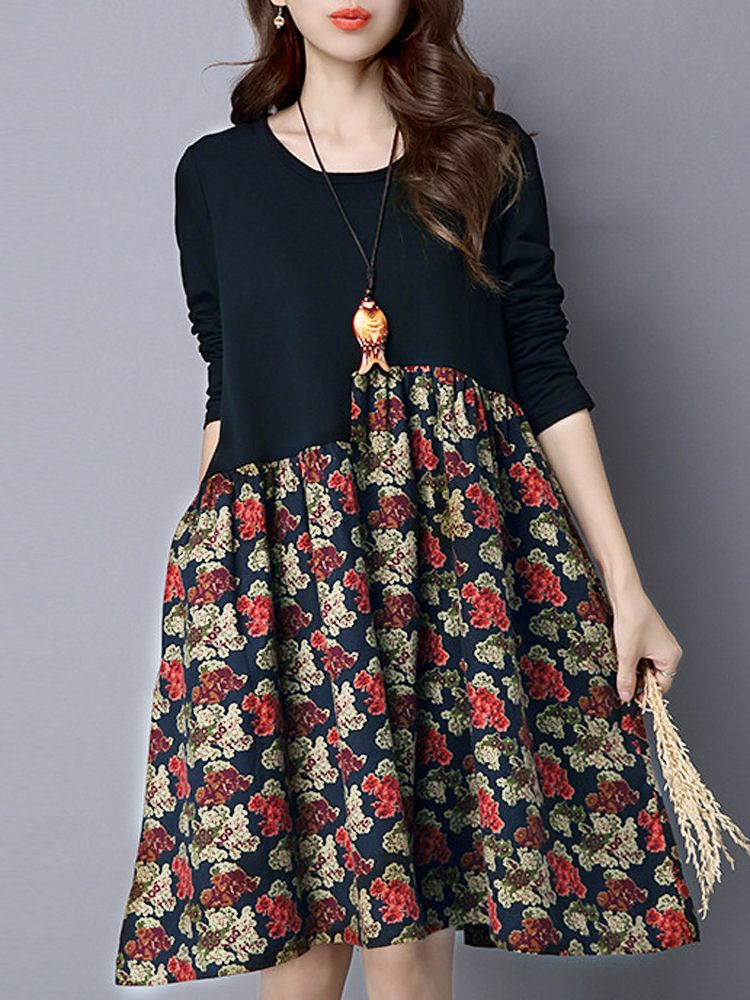 Floral Printed Patchwork A Line Loose Long Sleeve Women Vintage Dress