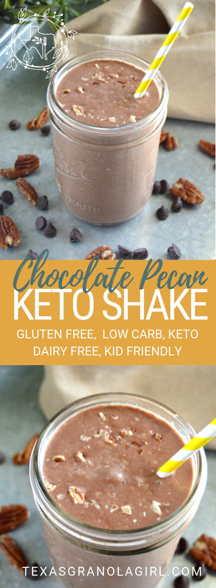 Dairy Free Chocolate Pecan Keto Shake #dairyfreesmoothie When you're in need of a sweet, chocolaty treat, whip up this Chocolate Pecan Keto Shake!  Dairy free and gluten free, this keto shake is a must have in your recipe arsenal!  4 net carbs for the whole recipe! #dairyfreesmoothie