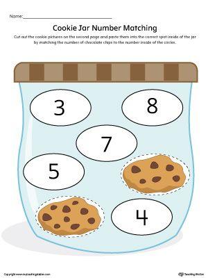 Cookie Jar Number Matching Worksheet in Color More Cookie jars