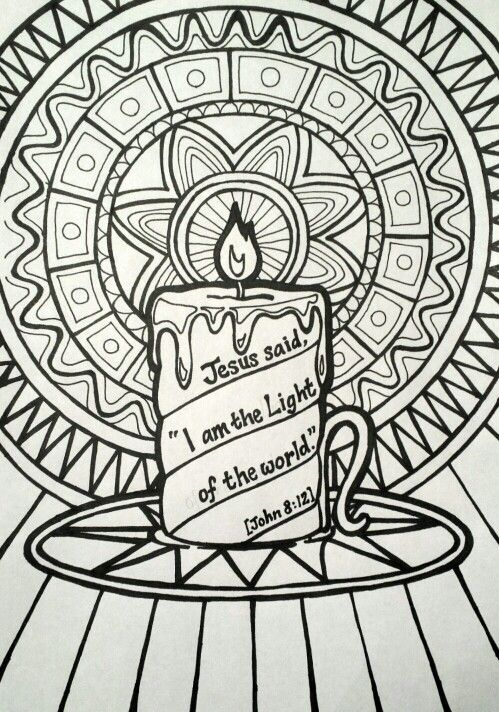 Jesus Said I Am The Light Of The World Colouring Page Patterned Candle Picture Jesus Coloring Pages Bible Coloring Pages Christian Coloring